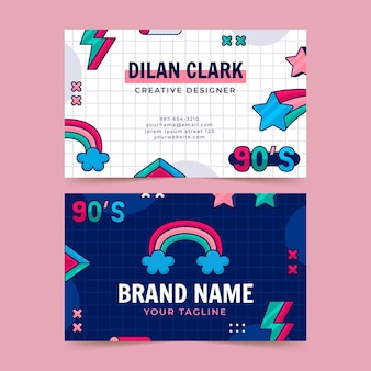 Flat nostalgic 90's horizontal business card template