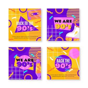 Collezione di post instagram nostalgici degli anni '90