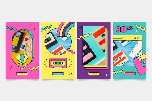 Flat nostalgic 90's instagram stories collection with photo