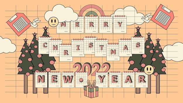 평면 향수 90 년대 메리 크리스마스와 새해 복 많이 받으세요 2022 배경