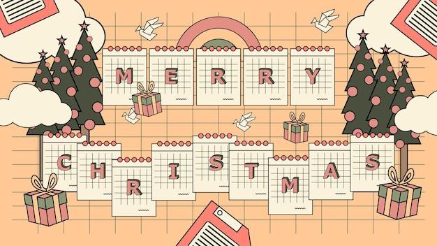 평면 향수 90 년대 메리 크리스마스 배경