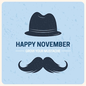 Flat november with hat and moustache