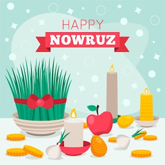 Flat nowruz elements illustrated