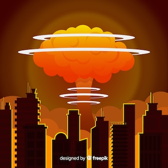 Flat nuclear bomb in a city