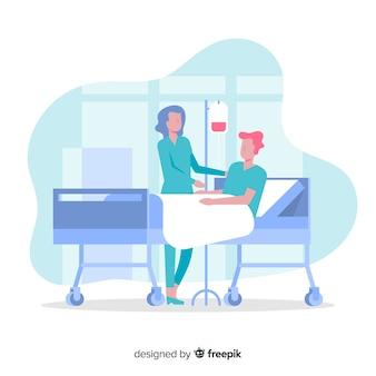 Flat nurse helping patient