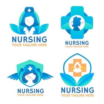 Flat nurse logo collection