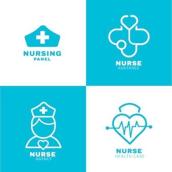 플랫 간호사 로고 컬렉션