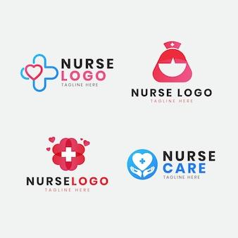 Плоская коллекция шаблонов логотипа медсестры