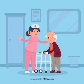 患者さんの面倒を見るフラットナース