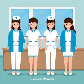 Flat nurse team background
