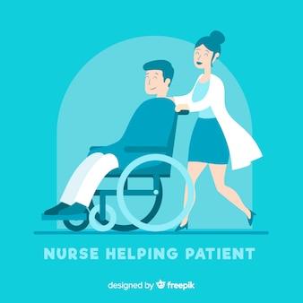 Flat nurse with patient