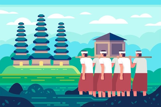 Flat nyepi illustration