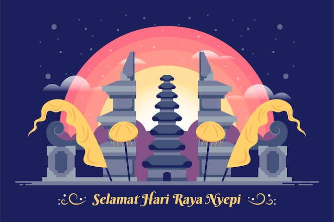 Flat nyepi illustration