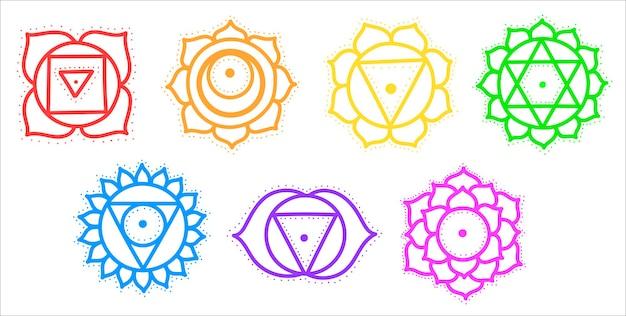 귀여운 만화 차크라 세트의 평면입니다. yantras, 요가.