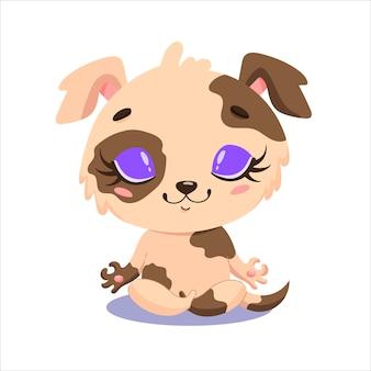 かわいい漫画の犬の瞑想のフラット。家畜のヨガ。