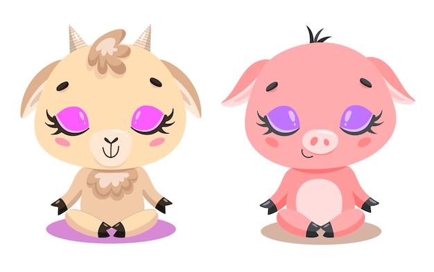 かわいい漫画のヤギとブタの瞑想のフラット。家畜のヨガ。