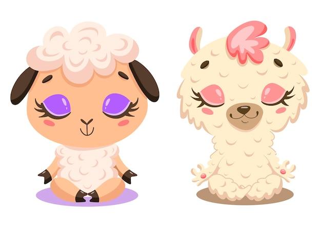 かわいい漫画の羊とラマ瞑想のフラット。家畜のヨガ。