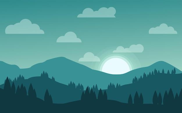 Квартира восхода солнца в горном сосновом лесу
