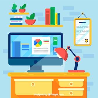 Плоский офисный стол с прекрасным стилем