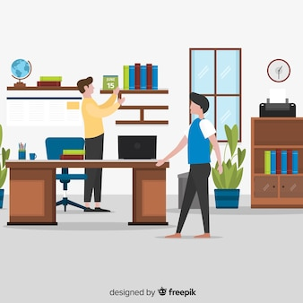 Flat office scene background