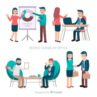 Flat office scene set