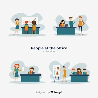 Flat office scenes collection