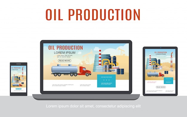 Flat oil industry adaptive design concept with tank truck petrochemical plant barrels on laptop phone and tablet screens isolated