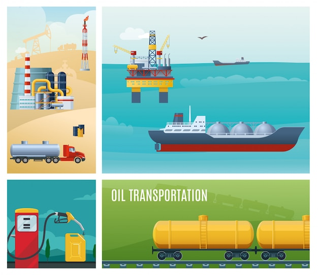 Flat oil industry colorful composition with tanker ship sea drilling rig gas station canister truck refinery plant railroad gasoline tanks