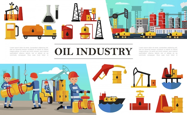 Flat oil industry composition with industrial workers fuel truck petrochemical plant oil derrick rig tanker ship barrels filling station petrol pumps
