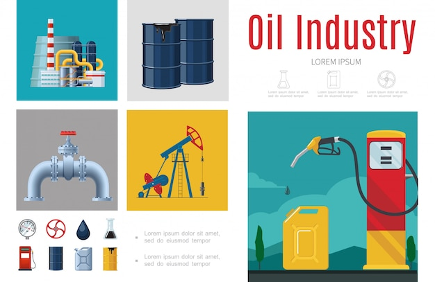 Flat oil industry infographic template with refinery plant drilling rig gas pipeline station fuel pump canister barrels