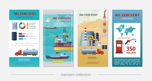 Flat oil industry vertical banners with sea drilling rig tanker ship derrick refinery plant canister barrel gas station tank truck fuel pump