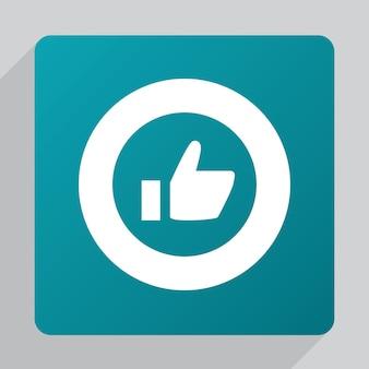 Flat ok icon, white on green background