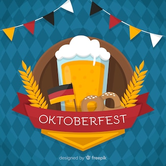 Flat oktoberfest background with a beer mug