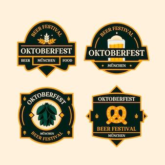 Collezione di distintivi piatti dell'oktoberfest