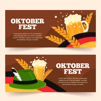 Flat oktoberfest banners collection