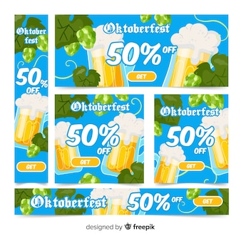 Flat oktoberfest banners with beer mugs