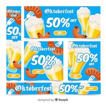 Flat oktoberfest banners with discount