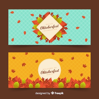Flat oktoberfest banners with dried leaves
