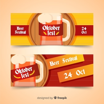Flat oktoberfest banners