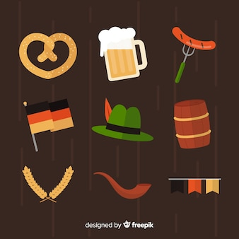 Flat oktoberfest element collection on brown background