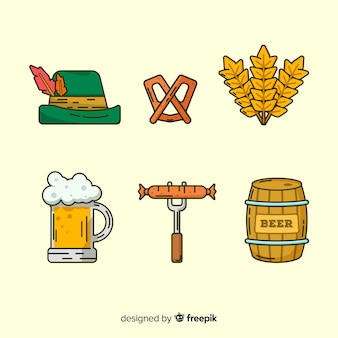 Flat oktoberfest element collection with food