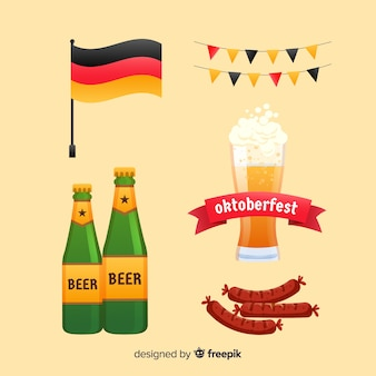 Flat oktoberfest element collection