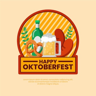 Flat oktoberfest festival with greeting