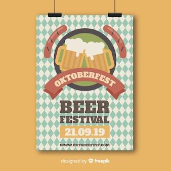 Flat oktoberfest flyer template