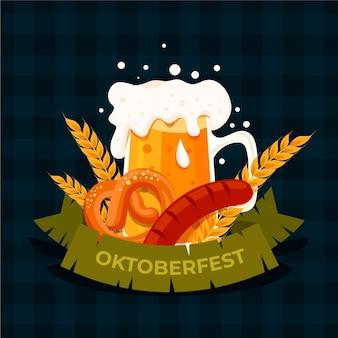 Плоский октоберфест еды и пива