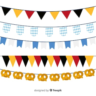 Flat oktoberfest garland collection and pretzels