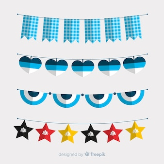 Flat oktoberfest garland collection and stars
