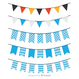 Flat oktoberfest garland collection with blue shapes