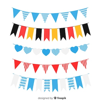 Flat oktoberfest garland collection with germany flag