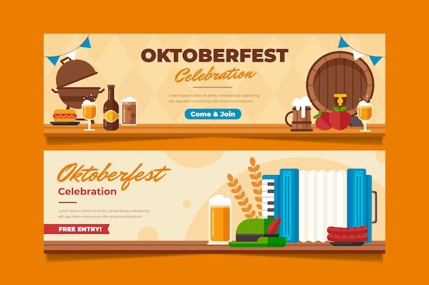 Set di banner orizzontali piatti oktoberfest
